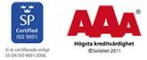 SP Certified IUSO 9001 - AAA högsta kreditvärdighet